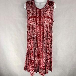 Style&Co Red Rayon Swing Sleeveless Boho Dress 16